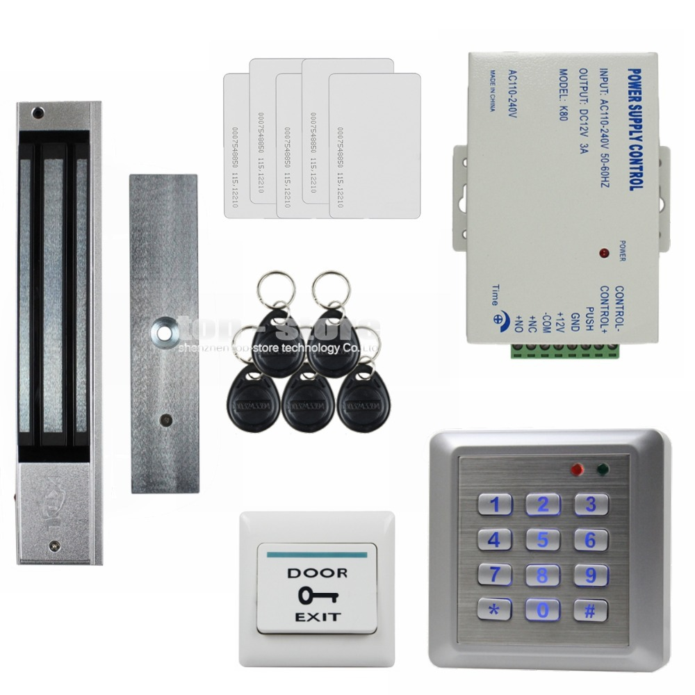 DIYSECUR Waterproof 280KG Magnetic Lock 125KHz RFID Reader Password Keypad Door Access Control Security System Door Lock Kit W4 diysecur electric lock waterproof 125khz rfid reader password keypad door access control security system door lock kit w4