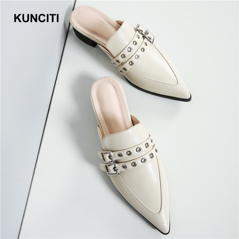 2018 KUNCITI Women Double Buckled Mules Shoes Med Heel Genuine Leather Studded Slippers Designer High Quality