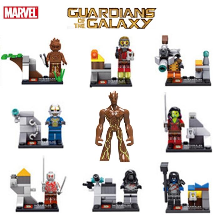 Guardians Of The Galaxy 11cm Big Groot Star Lord Ronan Drax Marvel Building Block Brick Set Toy Figure  Compatible With Lego new funko pop guardians of the galaxy tree people groot