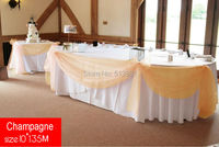 Champagne 10M 1 35m Organza Fabric Wedding Decoration Table Top Curtain Party Chair Sash Bow Table