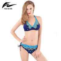 2017 New Style Sexy Bandeau Bikini Set Retro Nylon Wave Point Swimsuit Push Up Swimwear Women