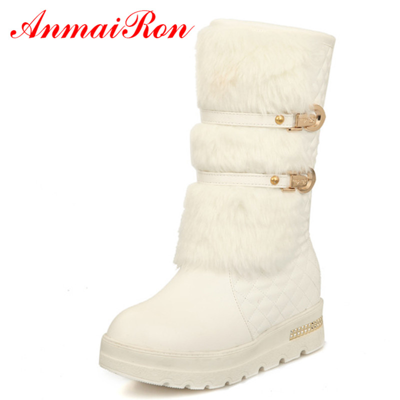 ANMAIRON Black White HOT Fahion Winter Women Snow Boots For Lady Round Toe Wedges Mid-Calf boots Winter BIG SIZE warm shoes футболка print bar sugar box