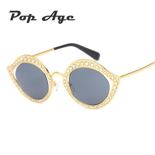 Pop Âge Nouveau Diamant lunettes de Soleil Femmes Creux Petit Cadres  Lunettes de Soleil Petit visage 8d492537c43c