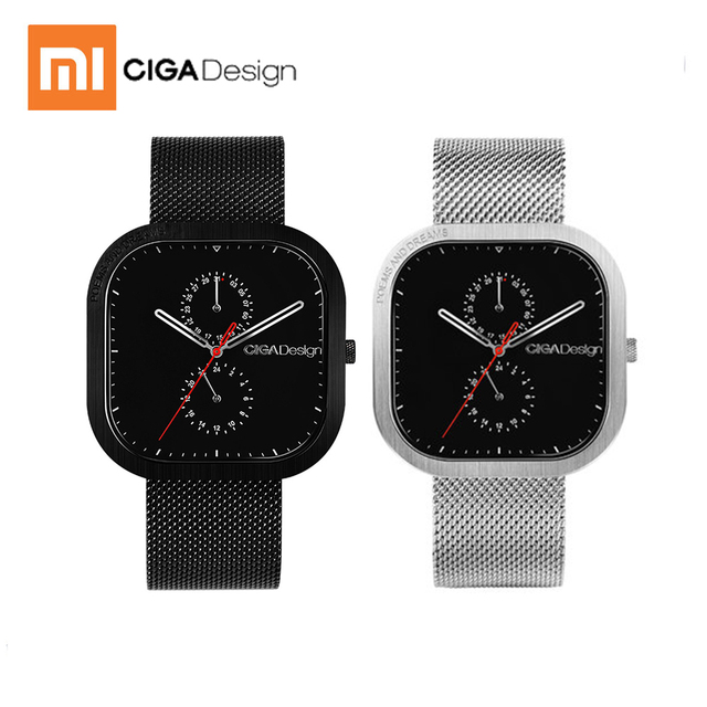 New xiaomi CIGA Design Male Quartz Watch Square Dial Stainless Steel Strap men watch for Fashion Bussiness from Xiaomi youpin