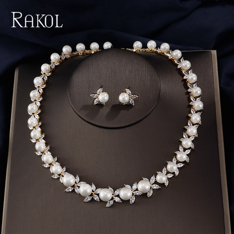 RAKOL Fashion Pearl and AAA Clear Cubic Zircon Wedding Jewelry Set ,Earrings Necklace Bridal Set,Promotion,Nickel Free, Factory rakol 2018 new wedding costume accessories heart shape cubic zircon crystal bridal earrings and rhinestone necklace jewelry set