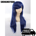 Top Quality Thick 65cm Medium Straight Dark Blue Black Wig Haqua du Lot Herminium Anime Dolls Cosplay Wigs+ Free Wig Cap