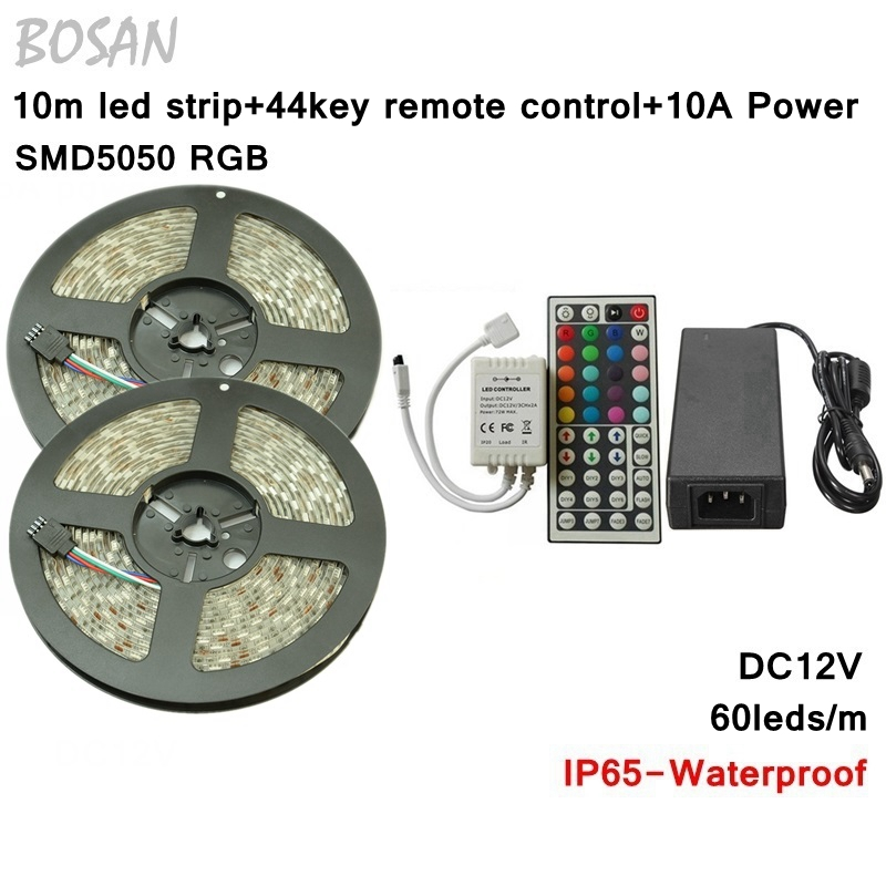 RGB LED Strip 10M SMD 5050 60LED/M Flexible Tape Home Decoration Lighting 44Keys IR Controller 12V 10A Power Supply Adapter