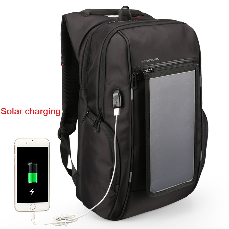 2017 Kingsons New For 15.6 Laptop bag Solar charging Backpack Outdoor  men's  business travel  compute bag  free shipping
