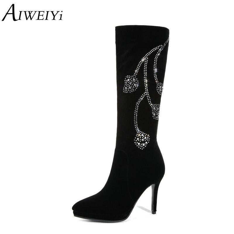 AIWEIYi strass genou bottes hautes pour les femmes troupeau bout pointu talon mince talons hauts chaussures femme talons aiguilles noir