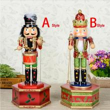 HT057 Free shipping toy 31CM fine painted nutcracker Music Box walnut soldiers  Christmas crafts birthday gift