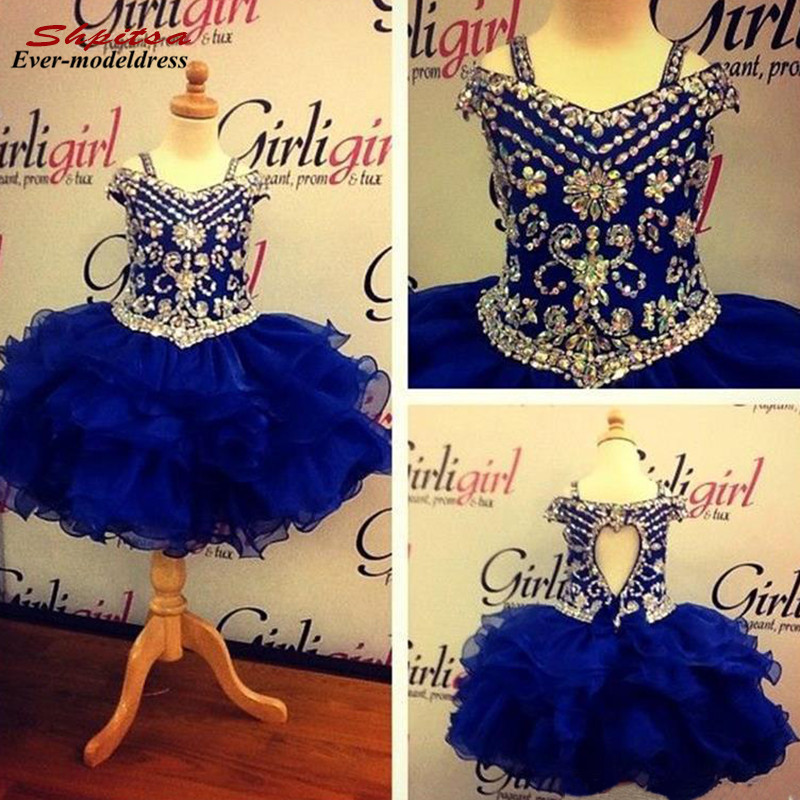 Luxury Royal Blue Ball Gowns   Girls   Pageant   Dresses   Beaded Rhinestones Hollow Back   Flower     Girls     Dresses   2019