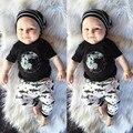 SY139 2016 Летняя мода мальчик девочка комплект одежды хлопка с коротким рукавом Футболки + брюки акула Ребенка с ребенком одежда