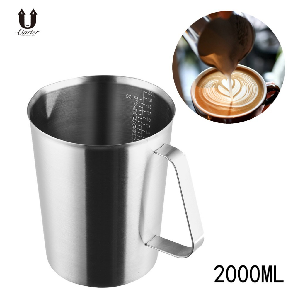 Uarter 2000ml Stainless Steel Coffee Cup Measurement Marking Mug Milk Thermo Latte Art Pull Flower Cuccino Tools In Mugs From Home Garden On