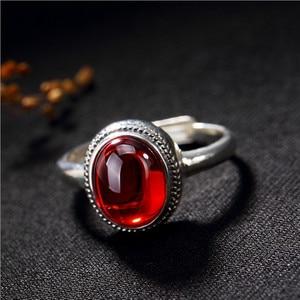 Женское кольцо из серебра 925 пробы без глифов, Винтажное кольцо из тайского серебра с овальным кольцом ручной работы