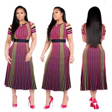 Gradient Vertial Striped Ladies African Dresses Short Sleeves Print Party Evening Rainbow Long Dress Multicolor Female Outfit