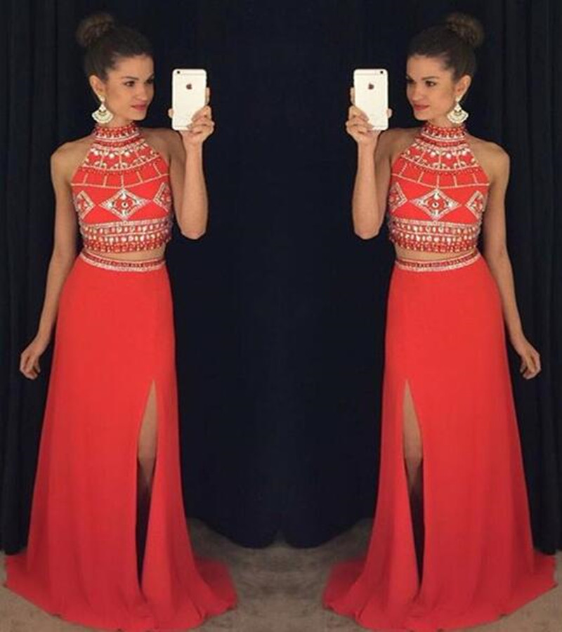 Two Piece Evening Dresses 2016 High neck Sleeveless Backless Sweep Train Crystal and Chiffon Long Evening.