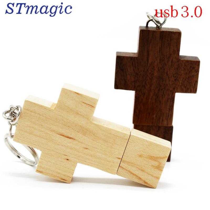 STmagic wood cross Flash Drive 4GB 8GB 16GB Pen Drive USB 3.0 Memory Stick u disk usb creativo USB flsah drive