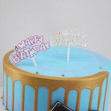 Candles, plastic birthday cake decorations, English happybirthday dessert table decorating plugins100pc