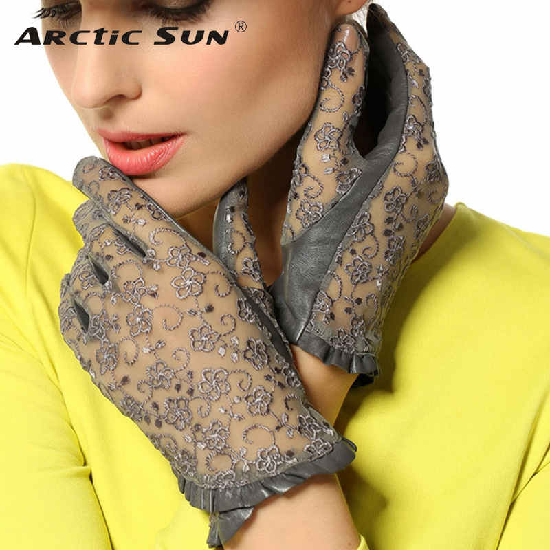 2020 Hot Sale Medival Lolita Women Lace Genuine Leather Gloves Unlined Nappa Lambskin Wrist Sunscreen Glove Free Shipping L095N