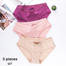 3pcs/lot New Sexy Cotton Crotch Panties Female Lace Briefs Edge Underpants Ladies Large Size Breathable Underware