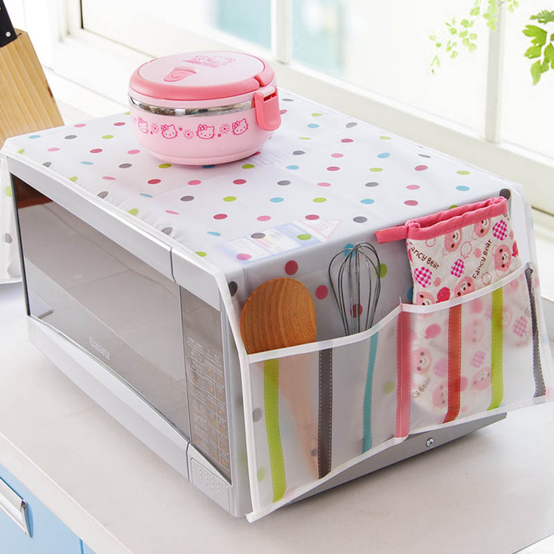 1pcs Microwave Cover Double Pockets Microwave Oven Hood Waterproof Dust Covers Storage Bag 85*34cm Home Decoration
