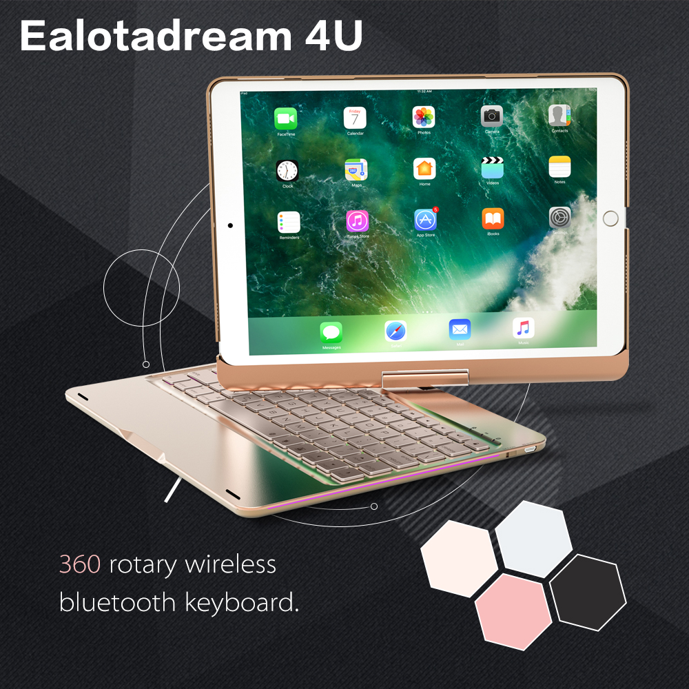 For ipad 9.7inch 2017 keyboard 360 Degree Rotation Wireless Bluetooth Keyboard,ABS LED Backlit keyboard for 2017 new ipad yd k356 bluetooth v3 0 78 key keyboard 360 degree rotational abs case for ipad 2 3 4 white