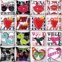 Hot sale beauty pattern panda lip pillow case men women girls ladies square pillow cases high definition pillow cover 45*45cm high quality horizontal block friends happy life pattern pillow case