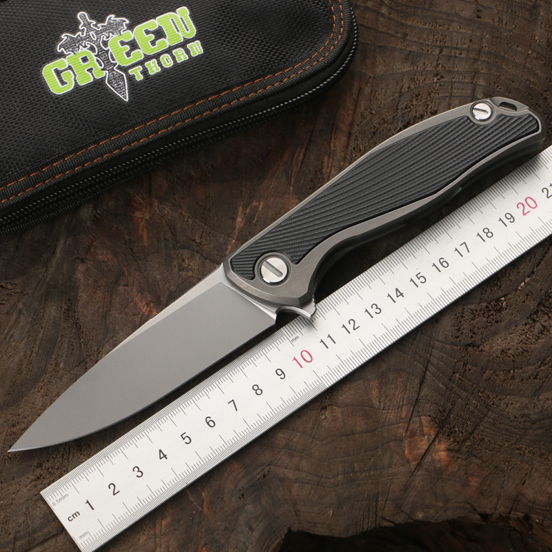 Green thorn F95 turn over folding knife D2 steel TC4 titanium alloy G10 handle camping hunting