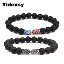 ФОТО yindesy fashion hematite bracelet weight loss health care black lava stone v charms beads bracelet for women men yoga jewelry