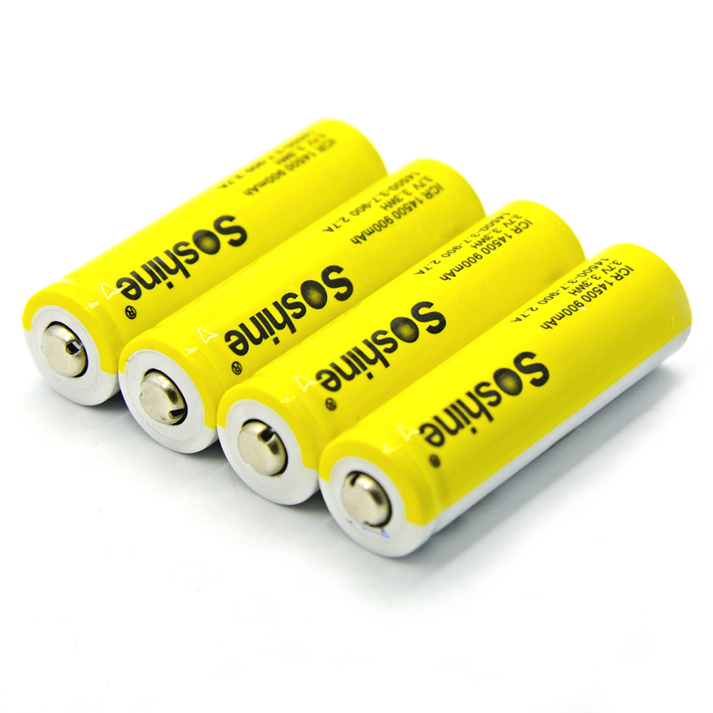 Soshine 4pcs 14500 AA Li-ion Battery without Protected 3.7V 900mAh Rechargeable Batterie ...