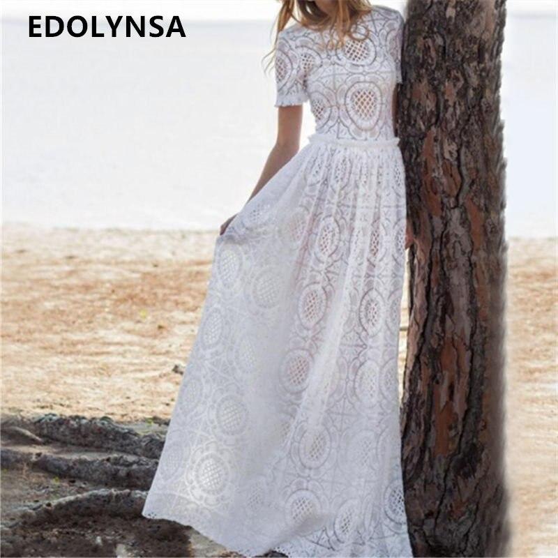 Detail Feedback Questions about Vetement Femme 2019 Women Clothing Vestidos  De Fiesta Vintage Princess Long Dress Elegant White Lace Beach Party Maxi  Dress ... 32cf550d87d5