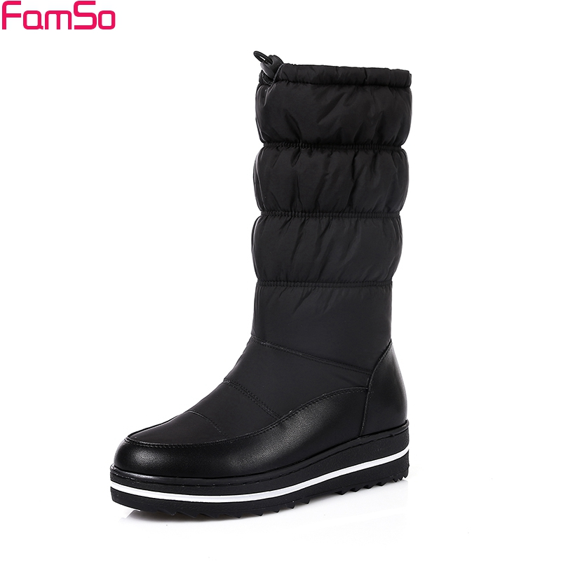FAMSO 2017 new Arrival Women Boots Shoes black White Genuine Leather Boots  Mid-Calf Russia  Winter keep Warm Snow Boots SBT3200 new arrival 2016 winter keep warm women boots low heel round toe platform shoes solid genuine leather mid calf boots