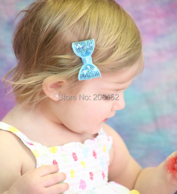 Hot Sale Sequin Bow Clip 12pcs/lot 5cm Children Sequin Barrettes Boutique Kids Hair Pin Head wear 24 colors Available