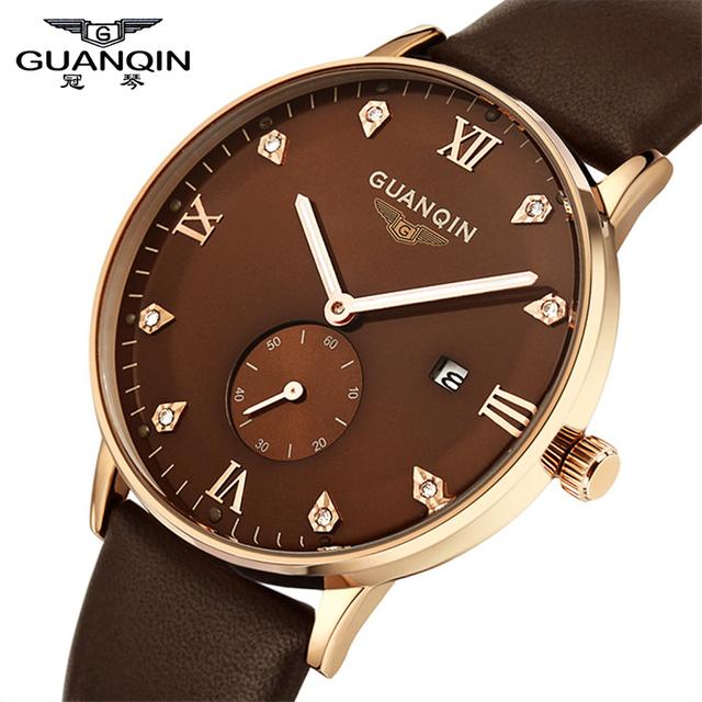 2016 Marca Original GUANQIN Homens Leather Strap Luminous Quartz Watch 10 ATM À Prova D' Água Moda Relógios Homens Relógios Desportivos Relojes