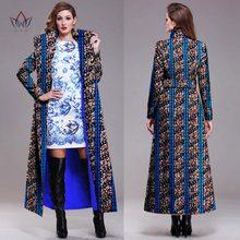 African New Elegant Lady Long Coat Autumn Winter Long Slim Vintage Women Single-breasted Full lining plus size Jacket Coat WY892