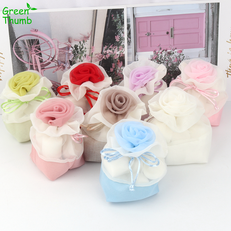 30pcs 15*14cm Polyester Wedding Candy Bags Flower Gift Bag Multi-Color 0ptional Yarn Bag High Quality Drawstring Gift Bags