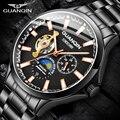 GUANQIN 2019 Мужские автоматические часы  водонепроницаемые механические часы с турбийоном  мужские часы  топ-бренд  Роскошные мужские часы
