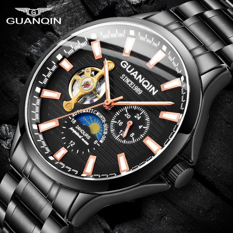Guanqin トゥールビヨン機械式メンズ腕時計トップブランド防水時計男性ビジネス自動アナログ時計 relogios masculino