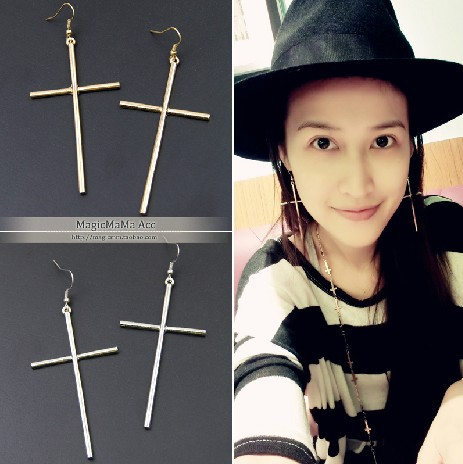 Gold Color Oversized Cross Earring Statement Hook Pendant Earrings For Women Penntes Brincos In Drop From Jewelry Accessories