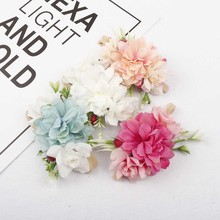 AHB Lovely Floral Elastic Head Band for Baby Girls Summer Newborn Nylon Headwraps Fake Flowers Photography Props Kids Headwear