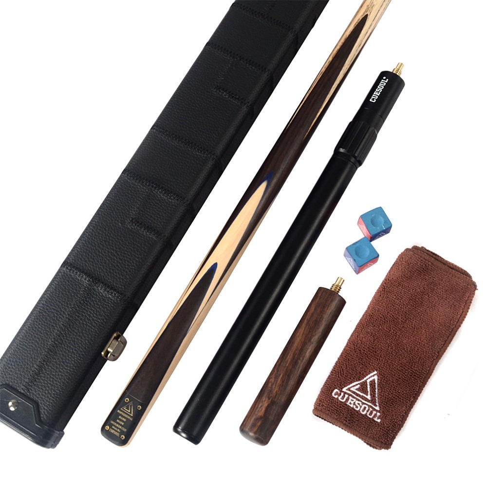 CUESOUL D414 18oz 1-Piece Handmade Snooker Cue with Aluminum Telescope Extension & Case cuesoul classic handmade 57 inch rosewood 3 4 piece snooker cue black cue case and cue extension