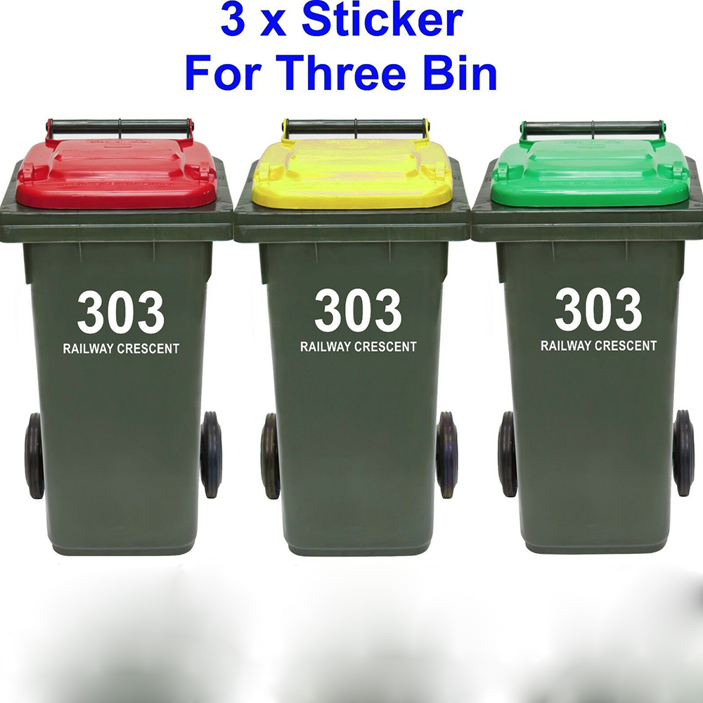 3 PCs Trash Can Rubbish Bin Custom House Number And Street Name Sticker Personalized Garbage wheelie bin Decal Vinyl Decor