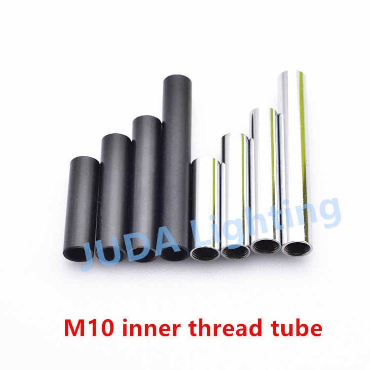 10mm M10 thread lamp Metric tooth tube Connection screw tube Black chrome color Iron lighting tube pipe Lighting accessories