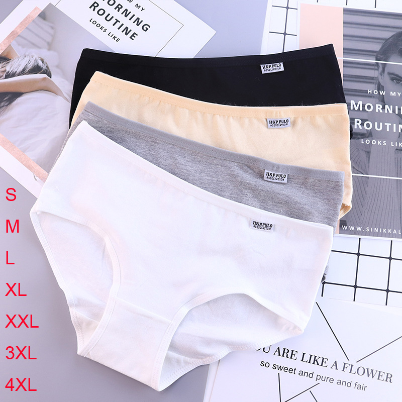 Women's   Panties   Cotton Solid Grils Briefs Plus Size Underwear Women Sexy Lingerie Lady Underpants Lenceria Mujer Shorts Calcinha
