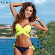 Vertvie Women Swimsuit Criss Cross Halter Bandage Bikini Push Up Beach Bathing Suit Swimwear Female 2019 Sexy XXL