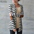 Плюс Размер Трикотажные Свитера 2016 Brand Женская Повседневная Полосатый Пальто Кардиган Куртки Повелительницы Куртки Mujer Открыть Стежка Blusas