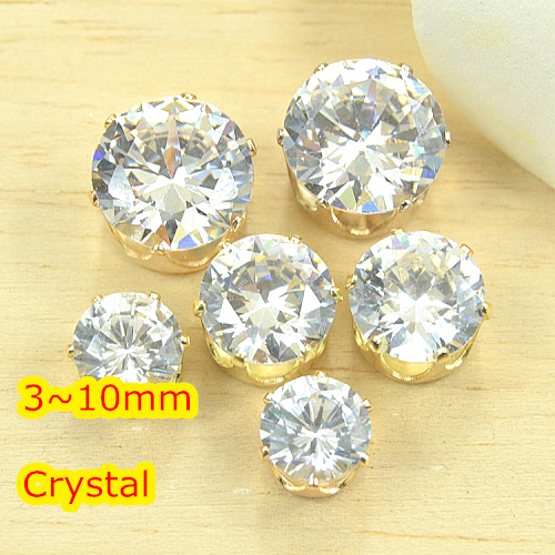 Stones Crystal Gold-Base Clear-Color 10mm 8mm 7mm 6mm 3mm 5mm Sew-On 4mm