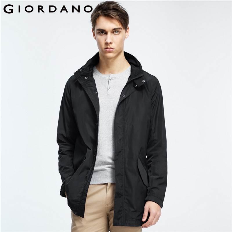 Giordano Men Jacket Stand Collar Detachable Hood Elastic Drawstring Jackets Men Medium Long Pockets Coat Hombre Winter Jacket-in Jackets from Men's Clothing    1
