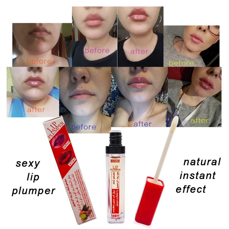 Ministar Brand Plump It Sexy Lips Gloss Moisturizing Lip Plumper Lip Enhancer 3D Super Volume Shiny Lips Tint Glaze Makeup