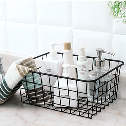 Household Iron Art Storage Basket Kitchen Bedroom Sundries Snacks Organizer Basket Black White
